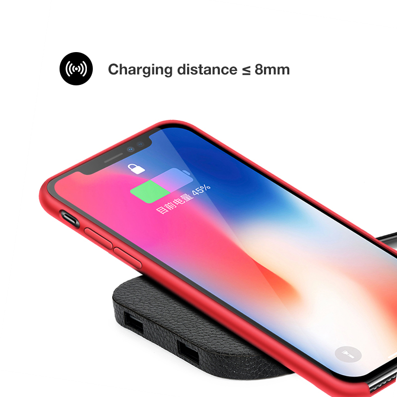 kabym Qi Standard wireless charger Normal for iPhone 8 X for SamsungS8/S8/S7 Edge Nexus5 Lumia 820 charging leather Q8 model