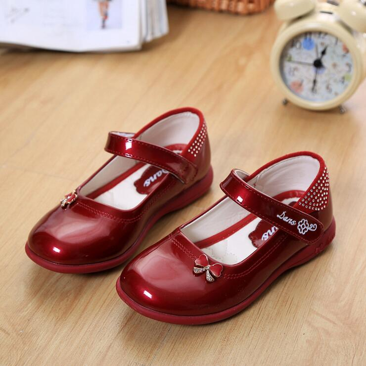 2016 Designer Bowknot Princess Patent Leather Girls Shoes Children Sneaker Girl Shoes Kids Shoes Chaussure Enfant