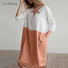 Lossky Summer Women Linen Cotton Asymmetrical Collar Three Quarter Sleeve Patchwork Mini Dress Pocket Casual Simple Hem Dresses все цены
