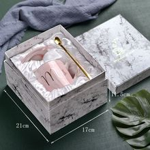 European-style marble ceramic mug gilt-edged office water cup Milk gift set enamel coffee tumbler Coffee for Couples