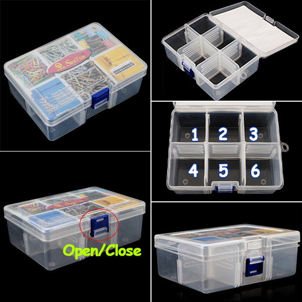 High quality clear 6 compartments portable home storage for Quality craft tool box