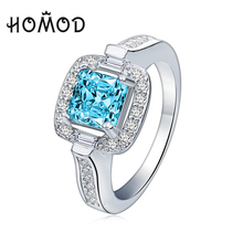 HOMOD Blue Ocean Silver Color Wedding Ring Austrian Crystals For Women Full Sizes Top Quality Wholesale