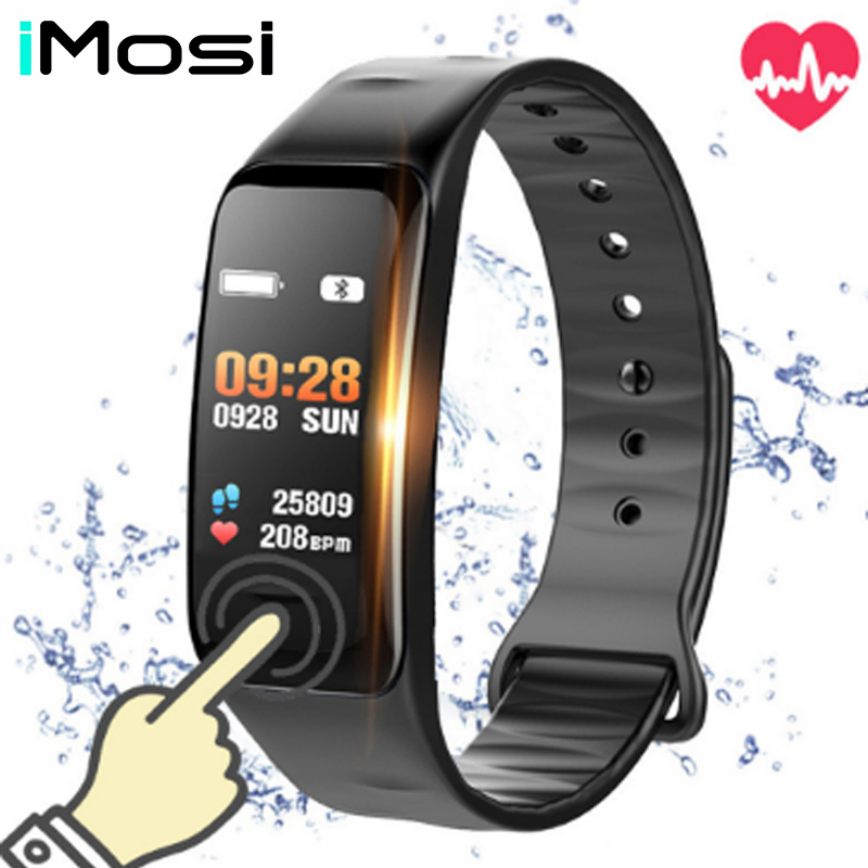Imosi Smart bracelet C1s Color screen Waterproof wristband heart rate monitor Blood pressure measurement Fitness tracker band-in Smart Wristbands from Consumer Electronics