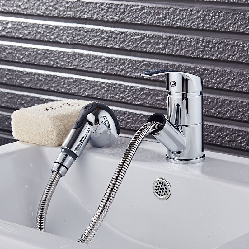Free Shipping new arrival pull out basin faucet chrome finished ...