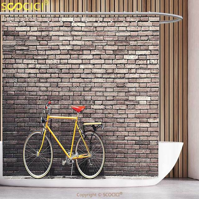Unique Shower Curtain Bicycle Decor Past Times Aesthetic Road Bike Lean To The Brick Wall Outdoor Daily Town Life Photo Grey
