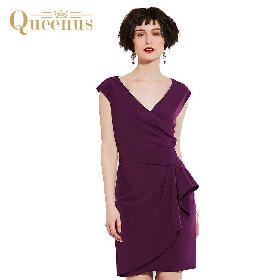 Queenus Women Work Dress 2017 Dress Sleeveless V Neck Elegant Lady Fashion Day Dress Women Straight Dresses Free Shipping