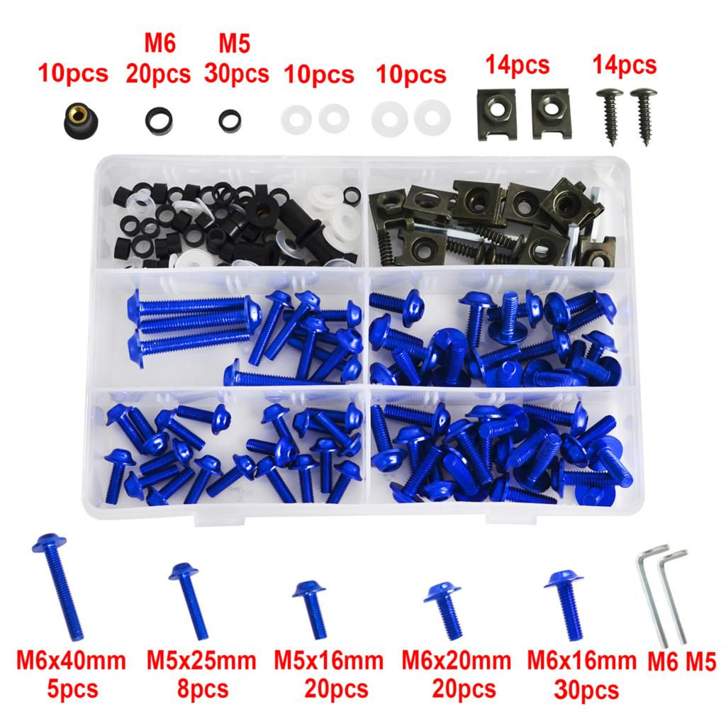 NICECNC 224 Pcs Fairing Bolts Kit Fastener Clips Bodywork Screws For Aprilia Pegaso 650 RS50 RS125 RS250 RSV4 RSV 1000R Mille