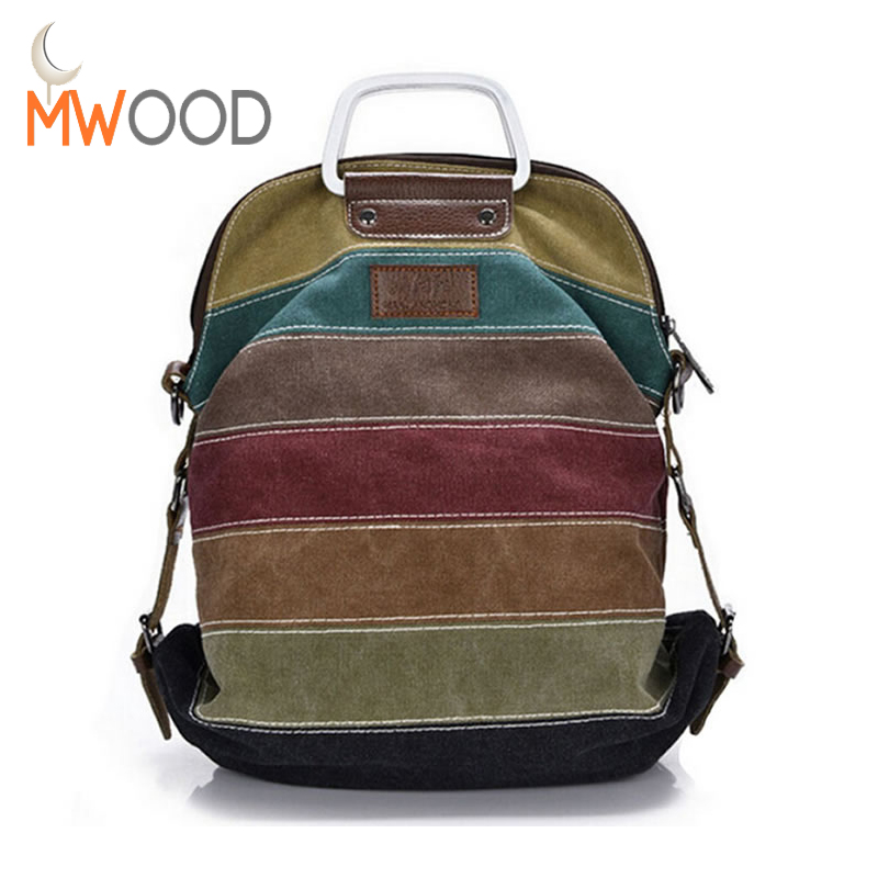 все цены на Ethnic Rainbow Women Backpack Canvas Stripe Rucksack Multifunction Girls Crossbody Bag Fashion School Bag Bolsas Mochila XA191L