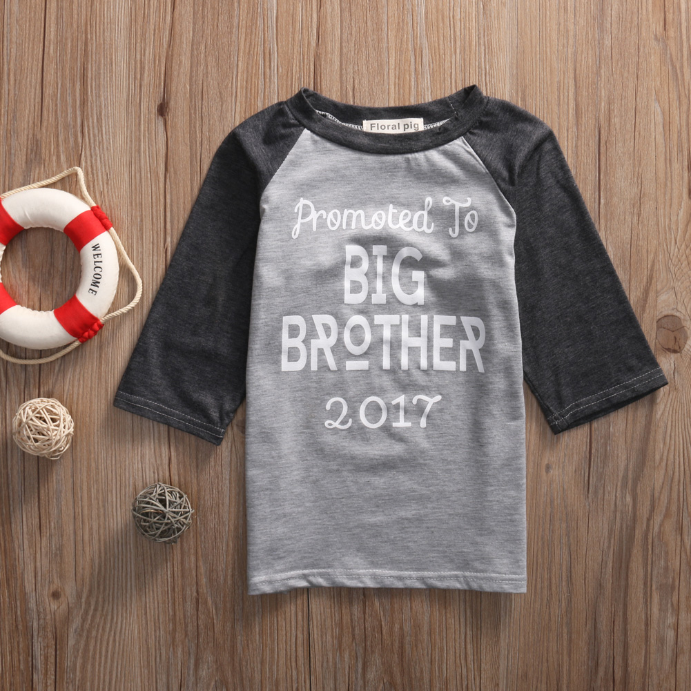 Baby Kids Boy T-shirt Short Sleeve Blouse Cotton Tops Shirt Print Brother Summer