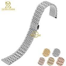 Прочной нержавеющей стали ремешок для часов металлические наручные часы группа розового золота серебряные женщин часы пояс бабочки 12 14 16 20 22 мм