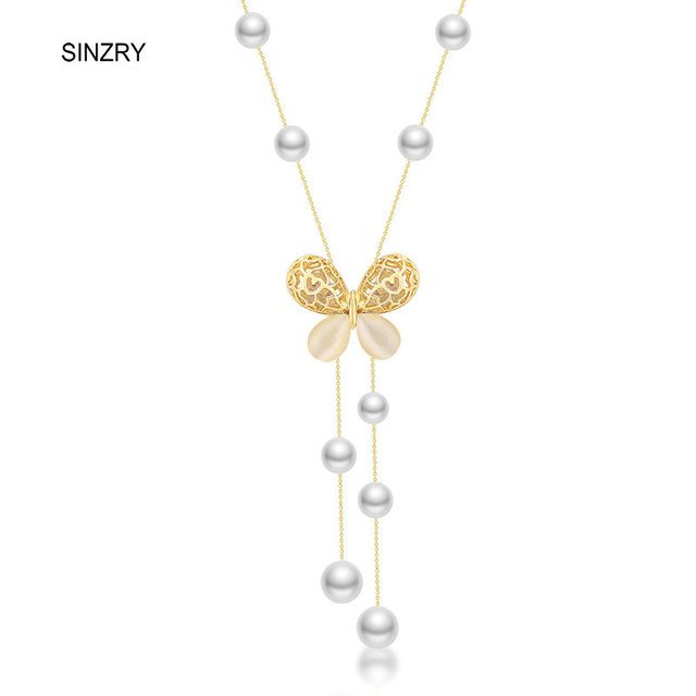 e2cd84ce8cbf SINZRY diseño clásico cristal mariposa simulado perla largo collares moda  suéter elegante joyería accesorio