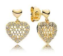 Auténtica Plata de Ley 925 Pandora pendiente brillo de nido de abeja de  pendientes para las mujeres regalo de fiesta de boda de . 4d3e5cf0719