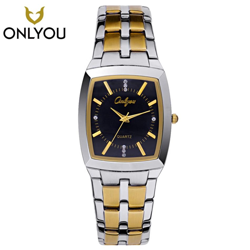 ONLYOU Men Watch Casual Fashion Lover Watches Waterproof Square Gold Ladies Quartz wristwatch Male Clock Relogio Masculino