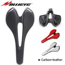 Ullicyc 2019 Top-level Newest Carbon Fibre+Leather Mountain/Road Bike Full Cycling Saddle MTB Cushion Bicycle Parts