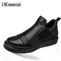 Black men's shoes in autumn and winter 2017 new all match leather shoes men s casual loafers thick bottom handmade fashion comfo