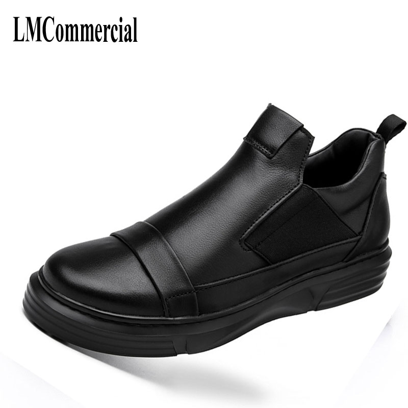 Black men's shoes in autumn and winter 2017 new all-match leather shoes men s casual loafers thick bottom handmade fashion comfo 2017 new autumn winter british retro men shoes zipper leather breathable sneaker fashion boots men casual shoes handmade