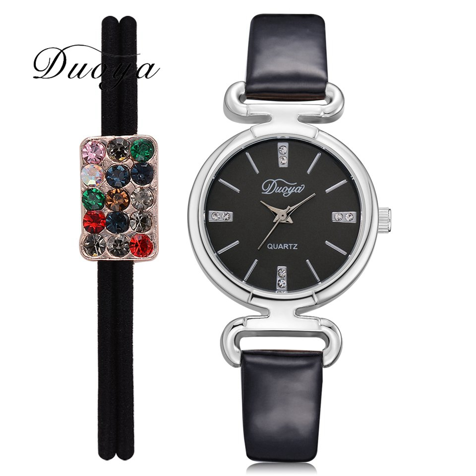 Duoya Brand Leather Watches For Women Luxury Silver Black Dial Bracelet Ladies Wrist Watch Fashion Creative Gift Clock Watch alexis brand silver white shell dial violet crystal ceramic water resistant bracelet watch women ladies watches horloge dames