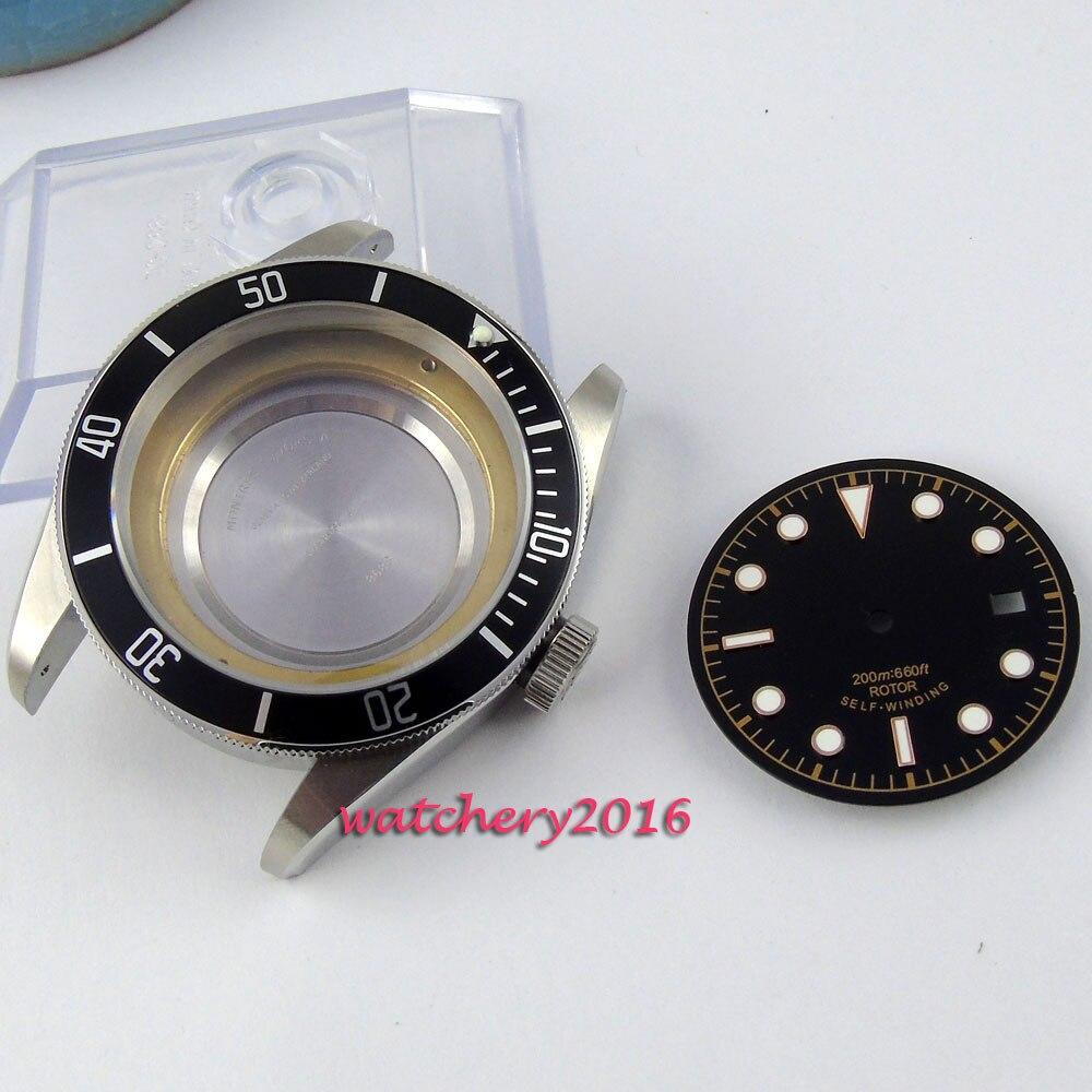 цена 41mm parnis sapphire glass fit 2824 2836 movement black ceramic bezel Watch Case+Dials онлайн в 2017 году