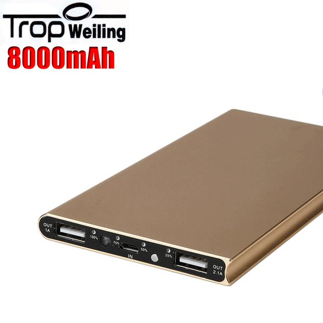 Tropweiling caja Delgada 18650 banco de la energía 8000 mah banco externo de la batería portátil cargador de batería para Todos Los teléfonos del teléfono banco pover