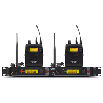 Double channel In Ear Monitor Wireless System, Twin transmitter Monitoring Professional for Stage Performance UK 2050