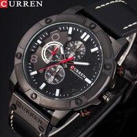 New Watches Men Luxury Brand CURREN Fashion Sports Wristwatch Chronograph Leather Strap Quartz Male Clock Relogio