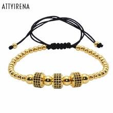 Фотография Macrame Bracelets Round Stopper Bracelets Men 24K Gold Plated Beaded Luxury Bar Bangle Micro inlay zircon Braiding Zircon Bangle