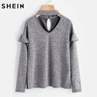 SHEIN Women Choker Neck Ruffle Sleeve Slit Side Marled Tee Autumn Ladies Long Sleeve T Shirts