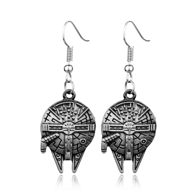 Rj New Movie Antique Silver Star Wars White Warrior Eship Charm Earrings Robot Bb8 Stud Women Jewelry In From