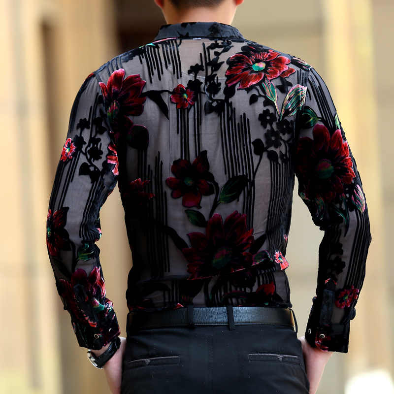 1a83e0c40a975d2 ... [HANGJIA] высокого класса люкс hollow Золотой Бархат тонкий рубашка  мужской 2017 мода Темперамент большие ...