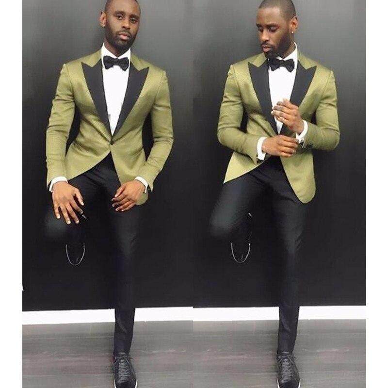 KUSON ออกแบบใหม่ชุดสูทสไตล์ผู้ชายเจ้าบ่าวทักซิโด 2 ชิ้น (สีเขียว + กางเกงขายาวสีดำ) ปาร์ตี้ชุดราตรีซาตินทักซิโด้-ใน สูท จาก เสื้อผ้าผู้ชาย บน   1
