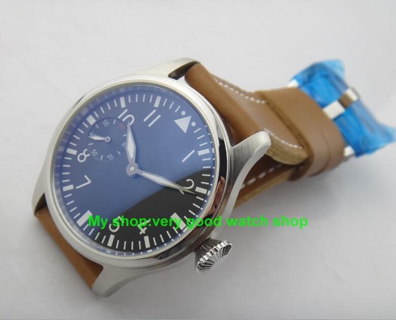 47mm Big dial PARNIS pilot 6497/3600 gooseneck tube Winding Movement Black Dial Wrist Watch High quality luminous men watch 117 все цены