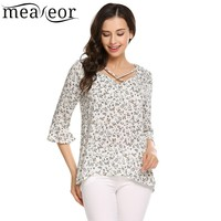 Meaneor Prints Crossing Straps Loose Blouse Ruffle 3 4 Sleeve Asymmetrical Women Shirt Tops 2017 New
