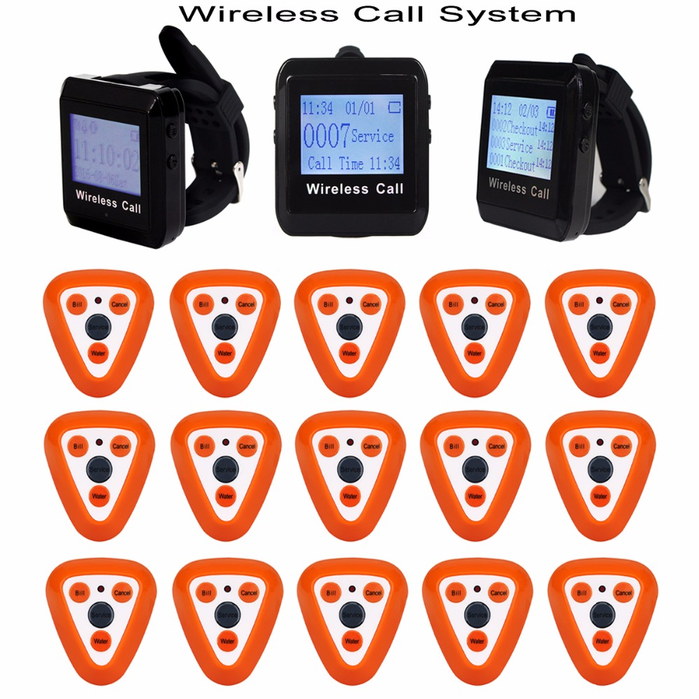 Restaurant Pager Wireless Calling System 15pcs Call Transmitter Button +3pcs Watch Receiver 433MHz Catering Equipment F3306Q restaurant call bell pager system 4pcs k 300plus wrist watch receiver and 20pcs table buzzer button with single key