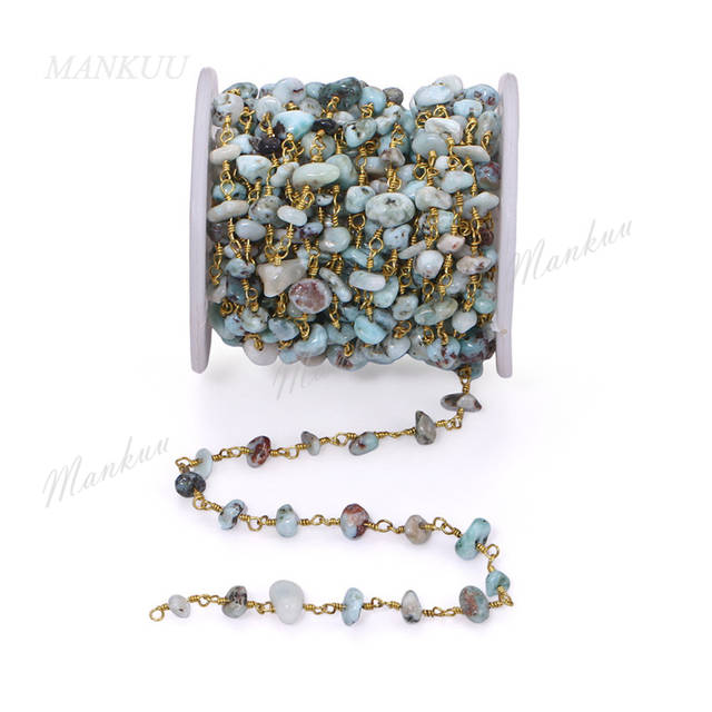 Online Shop Mankuu Natural Larimar Chips Stone Beaded Chain Gold