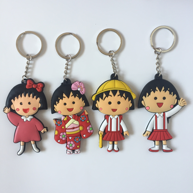 US $1 62 15% OFF|Chibi Maruko chan key chain ornament figure hot silica gel  pendant keyring Key chains Cosaner-in Key Chains from Jewelry &