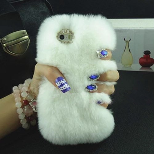 LaMaDiaa Fashion Luxury Warm Soft Rabbit Fur Skin Funda para Samsung - Accesorios y repuestos para celulares - foto 5