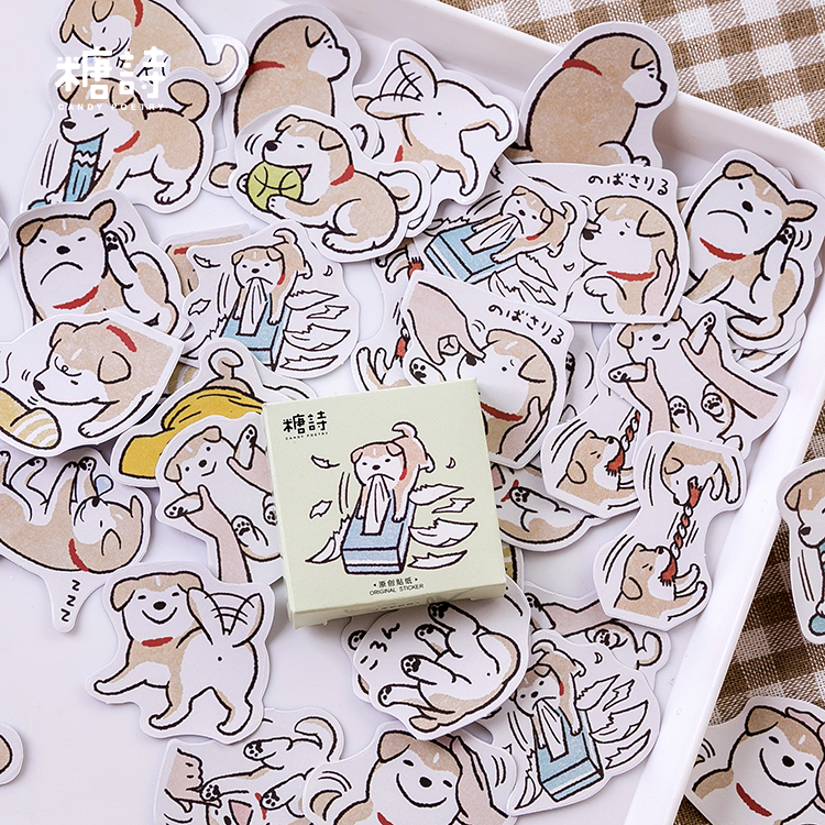 45pcs Naughty Little Wood Series Creative Cartoon Dog Daily Sticker Diary Calendar Stationery Mini Scrapbooking Paper Student