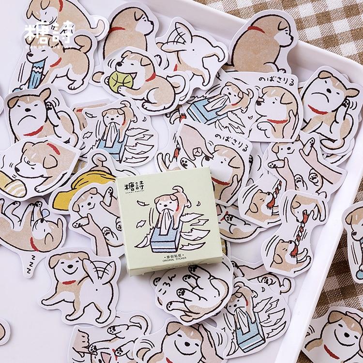 45pcs Naughty Little Wood Series Creative Cartoon Dog Daily Sticker Diary Calendar Stationery Mini Scrapbooking Paper Student
