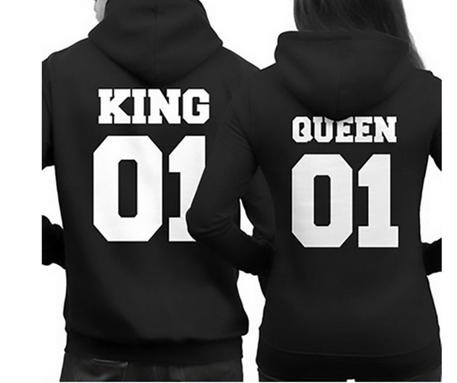 buy 2017 fashion king queen hoodie couple. Black Bedroom Furniture Sets. Home Design Ideas