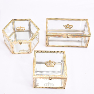 Glass Makeup Classic European Style Jewerly Box Cosmetic Organizer Makeup Box Lipstick Makeup Storage Bathroom Table Organizer in Makeup Organizers from Home Garden