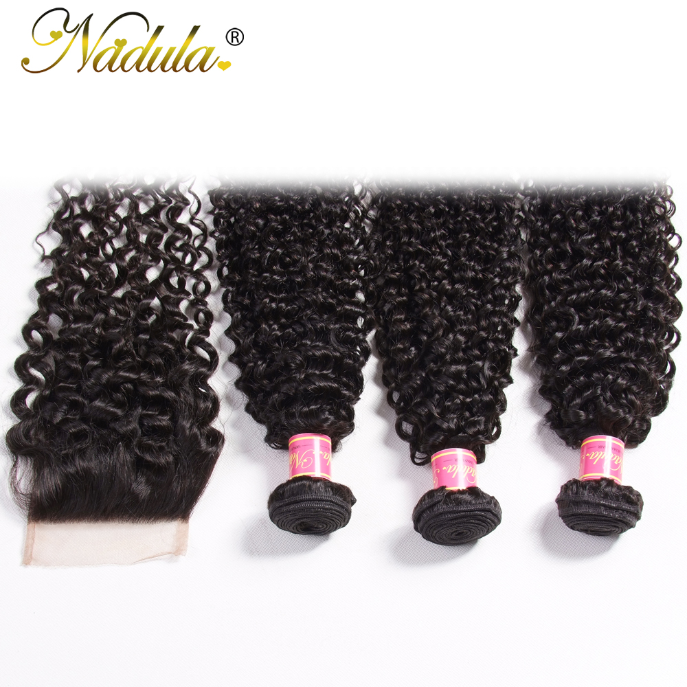 Nadula Hair Bundles and Closure Indian Curly Human Hair Weaves 3 Bundles With 4*4 Lace Closure Free/Middle/Three Part Remy Hair