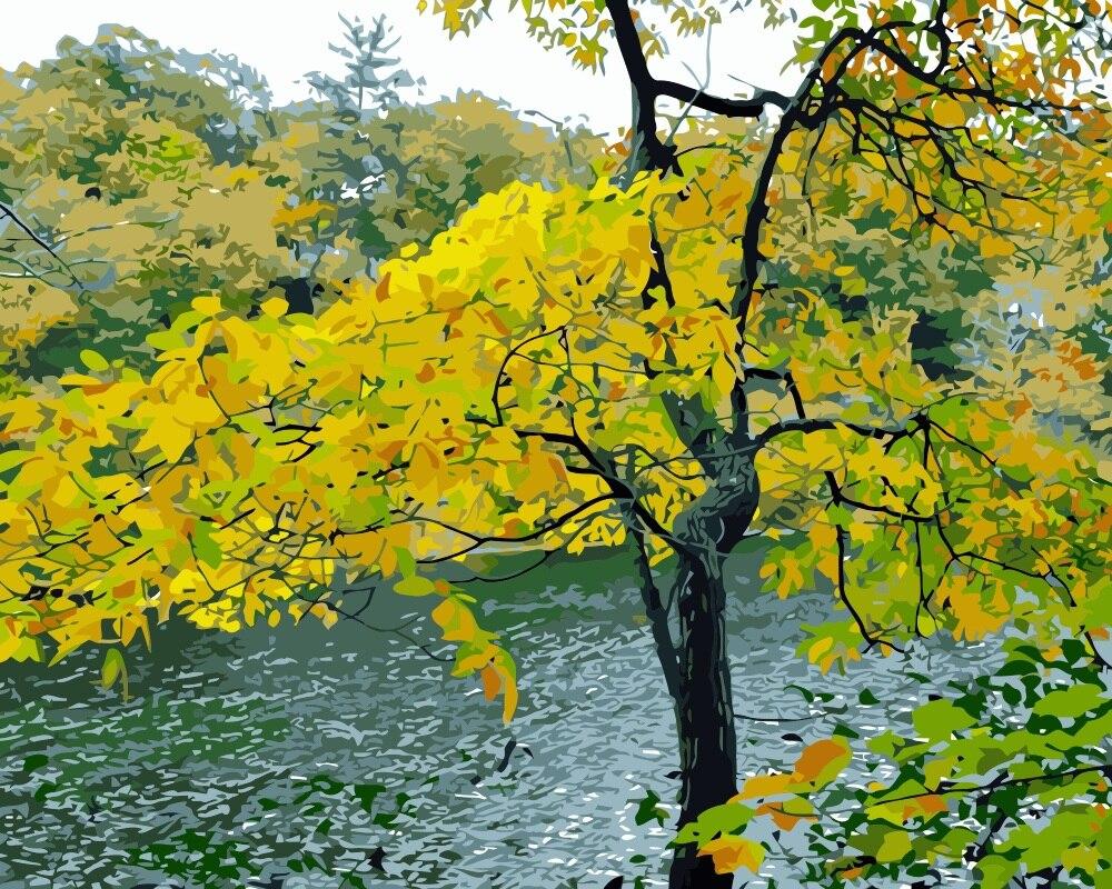 US $19 35 OFF Mahuaf I238 Kualitas Tinggi Lukisan By Numbers Diy Gambar Menggambar Mewarnai Pada Kanvas Lukisan By Tangan Musim Gugur Pohon