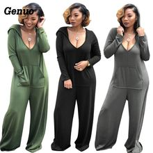 Genuo Womens Jumpsuits Solid color deep V sexy loose playsuit pocket hooded long sleeve jumpsuit Casual Streetwear Rompers