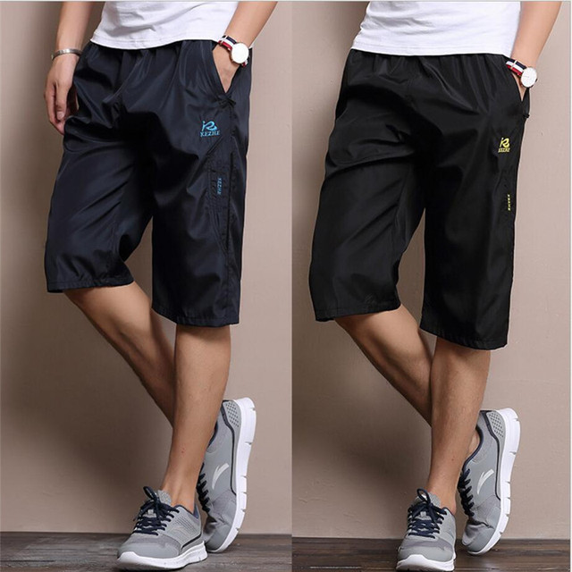 Summer Men's  Shorts With Pockets Bodybuilding Clothing Solid Color Quick Dry Black/Blue Shorts Men Loose Shorts Working wear
