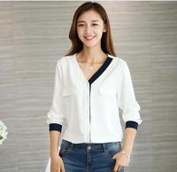 Szyfonowa biała koszula kobiet z długim rękawem bluzka 2017 jesień na co dzień damska kolor bloku patchwork V-neck work wear bluzki blusas S XL