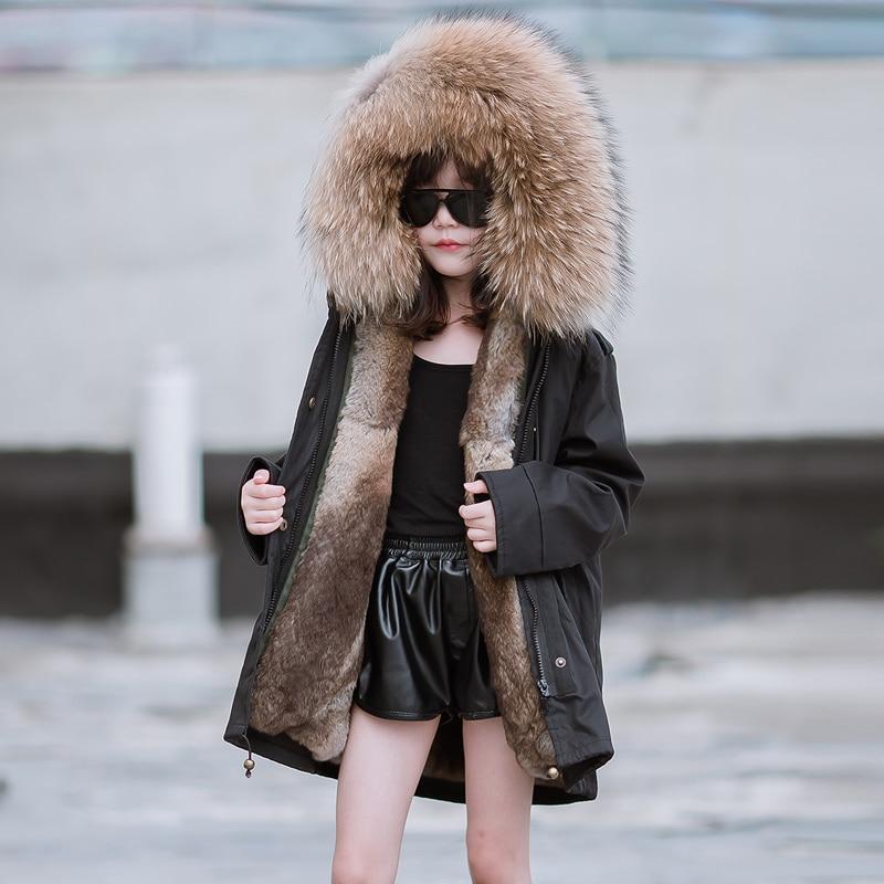 JKP 2018 девушки Аутентичные кроличий мех пальто Детская куртка Новый утолщение девушки зима мода большой енота меховым воротником CT 72