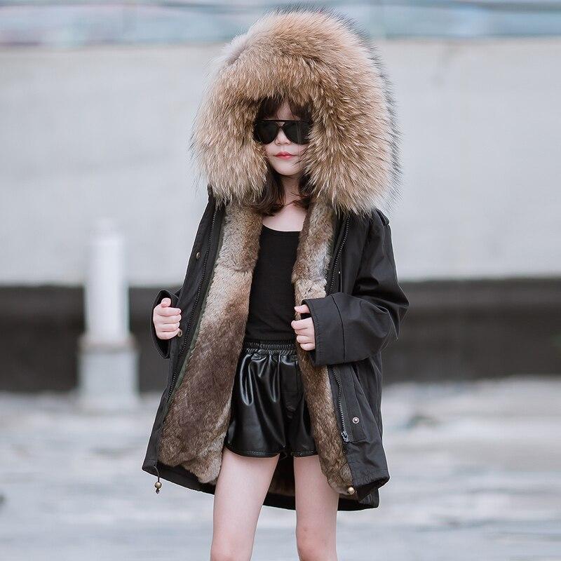 JKP 2018 filles authentique de fourrure de lapin veste de manteau enfants nouveau épaississement filles d'hiver de mode grande fourrure de raton laveur collier CT-72