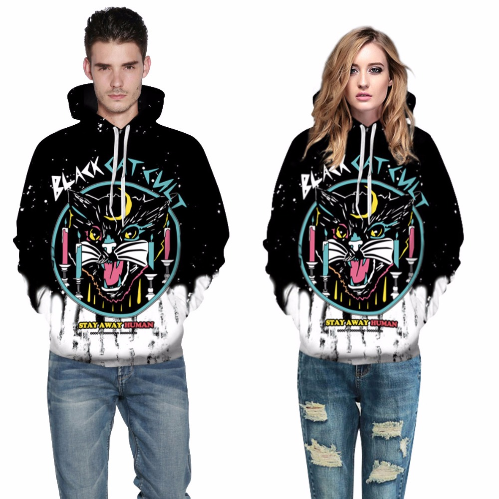 3D Printing Animal Black Cat Sportswear 3d hoodies Sweat shirts Men/Women Couple With Hat Autumn Winter Loose Thin