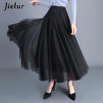 Jielur Skirt Autumn 3 Layers Princess Tulle Skirts Womens Mesh Pleated A-line Saia Female Jupe Tutu Skirts Faldas Mujer Moda 3