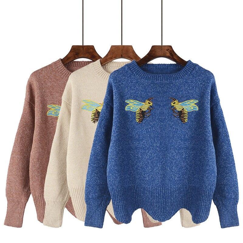 Japanese Spring Autumn New Pullover Womem Short Sweater Korean Harajuku Original Design Bee Embroidery Cute Preppy Sytle